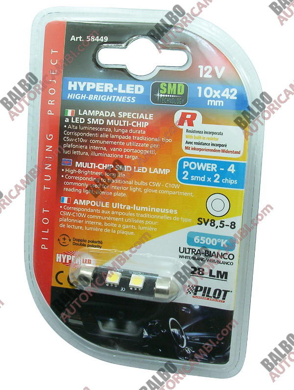 Lampada Hyper-Led Power 4 - 10x42 mm - 12V - (C5-10W)