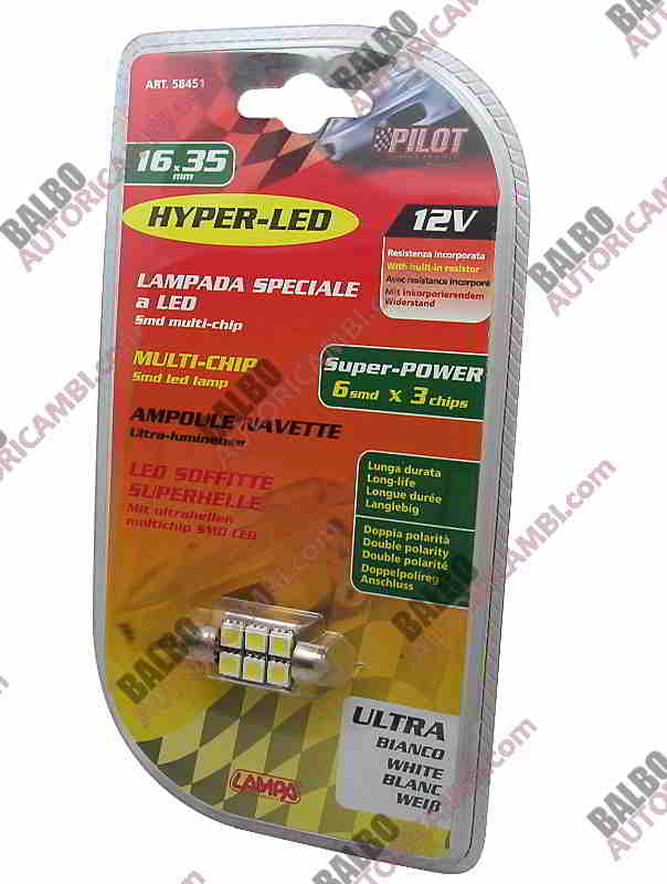 Lampada Hyper-Led Power 18 - 16x35 mm - 12V