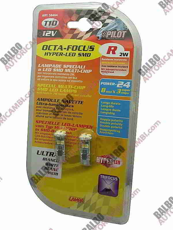 Coppia Hyper-Led Power 12 Octafocus -W5W 12V - (T10)